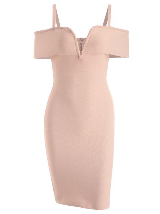 women Cold Shoulder Bandage Cami Dress - APRICOT L