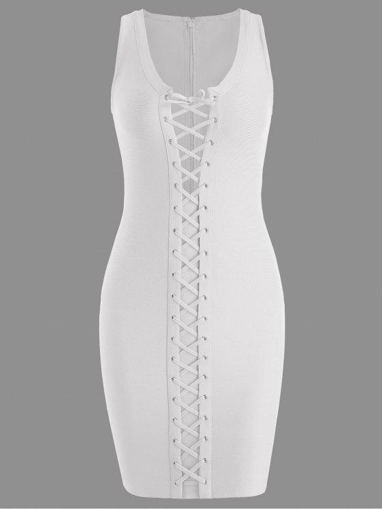 lady U Neck Lace Up Bandage Dress - WHITE M