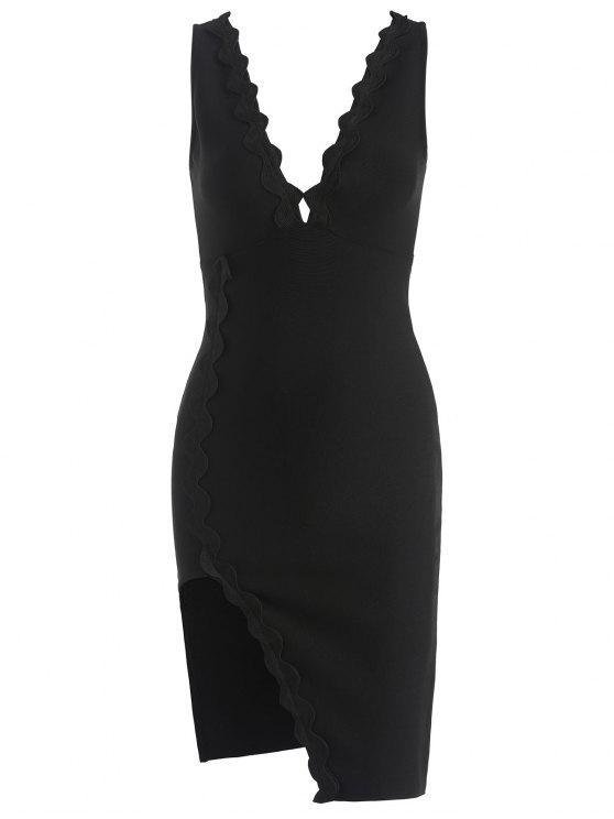 Vestido con pliegues y aberturas - Negro S