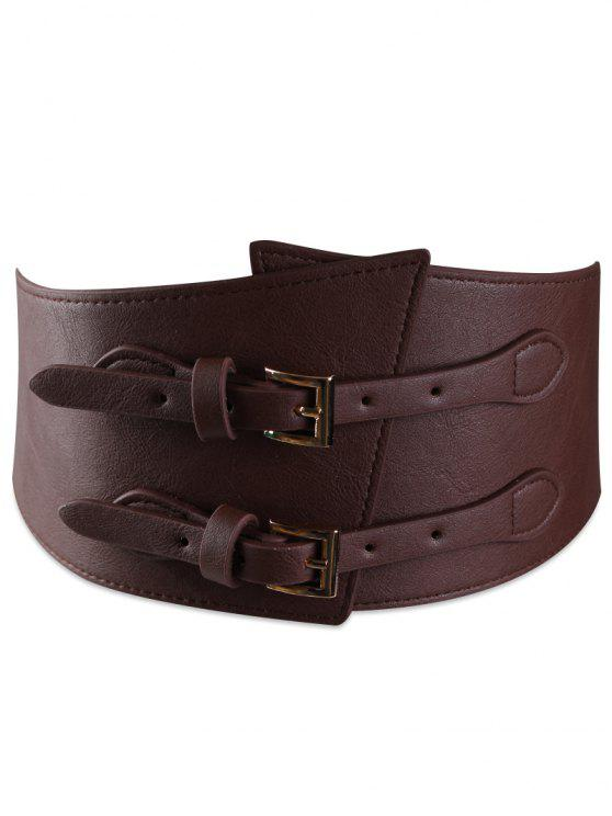 outfit Metal Buckle Two Holes Decoration Wide Waist Belt - CHOCOLATE
