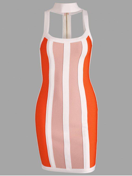 ladies Cut Out Contrast Bandage Dress - MULTI M
