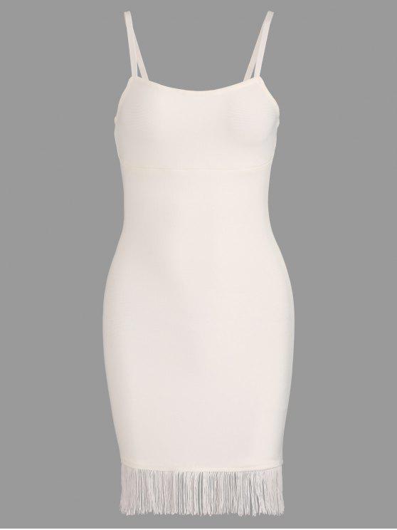 shop Fringed Cami Bandage Dress - WHITE M
