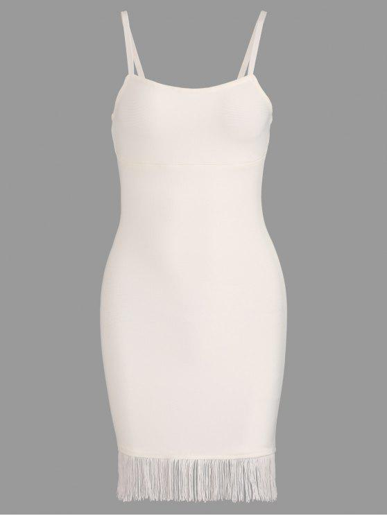 shops Fringed Cami Bandage Dress - WHITE S