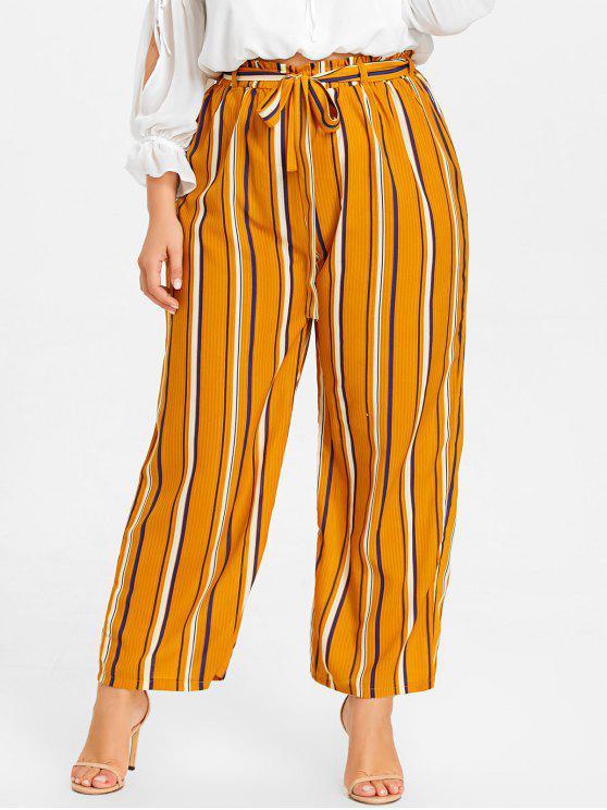 Calças de palha de tamanho grande com listras - Amarelo XL