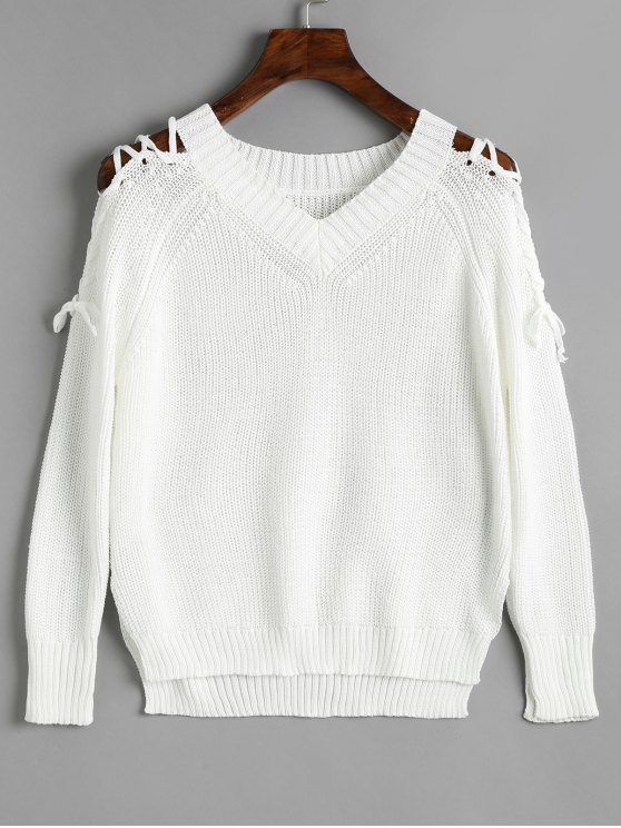 ladies V Neck Raglan Sleeve Lace Up Sweater - WHITE ONE SIZE
