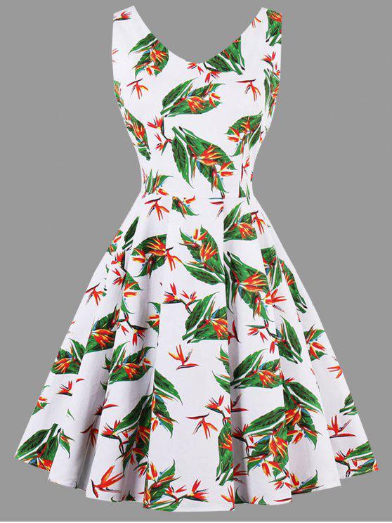 زائد حجم ورقة الزهور طباعة اللباس - أبيض 2XL