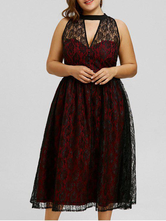 فستان الحجم الكبير دانتيل - نبيذ أحمر 5XL