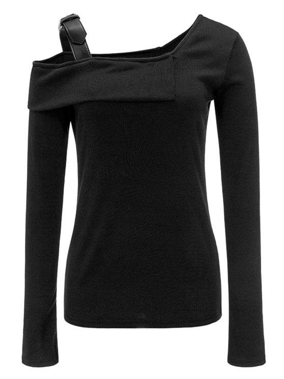 fe0dcced9 29% OFF] 2019 Ribbed Skew Neck Buckle Strap Top In BLACK | ZAFUL