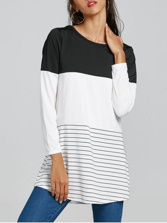 Vestido de manga larga a rayas color block Blanco Y Negro