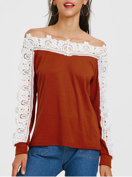 2baf52dc4 T-shirt de manga comprida de manga comprida em forma de renda - Vermelho  Tijolo