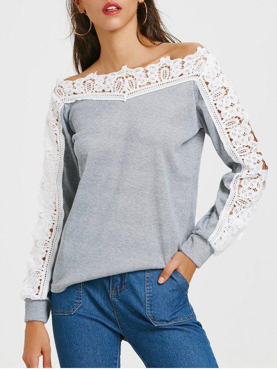 71139b68b T-shirt de manga comprida de manga comprida em forma de renda - Cinzento M