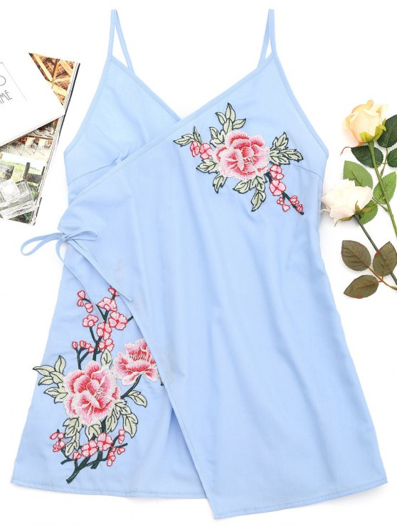 women Tiered Bowknot Embroidered Patches Mini Dress - LIGHT BLUE XL