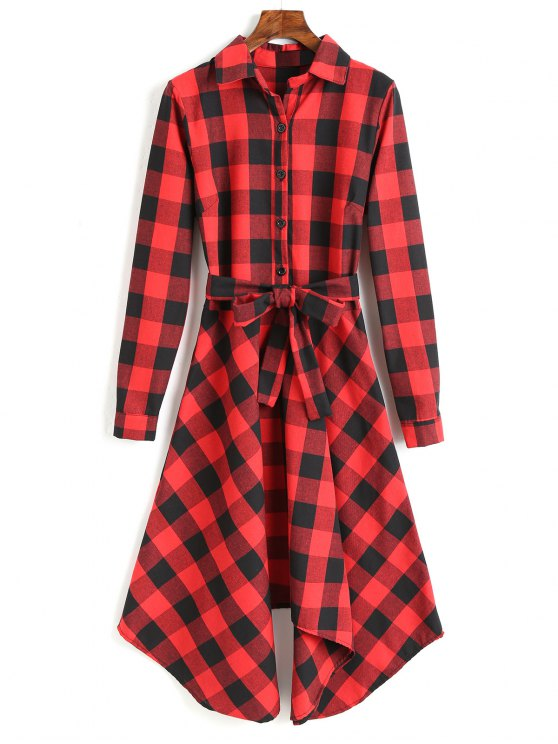 new Long Sleeve Plaid Belted Shirt Dress - RED S