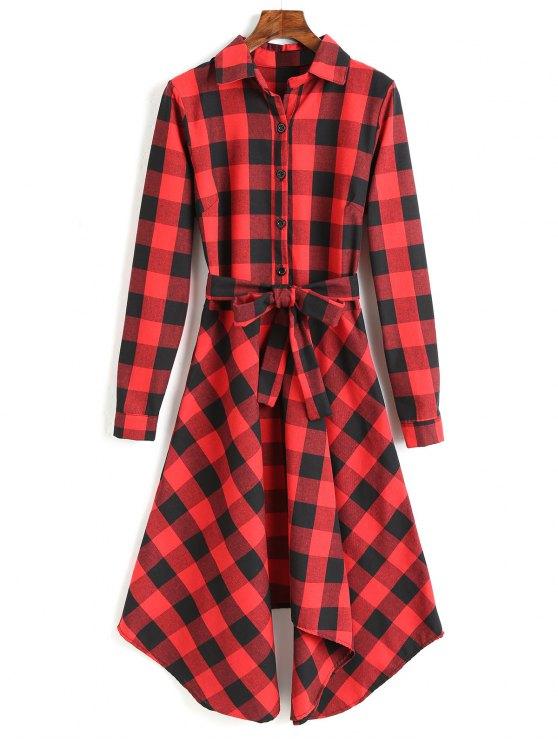 Vestido camisero de manga larga con cinturón - Rojo XL
