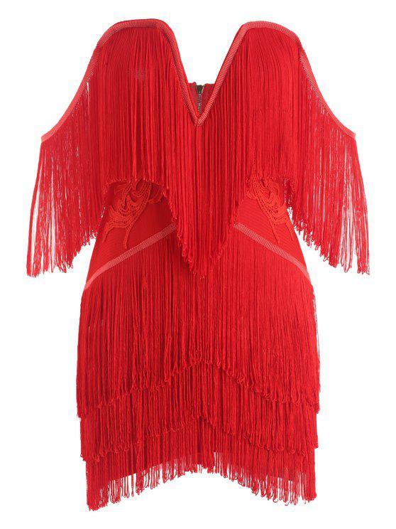 lady Fringed Strapless Bandage Dress - RED S