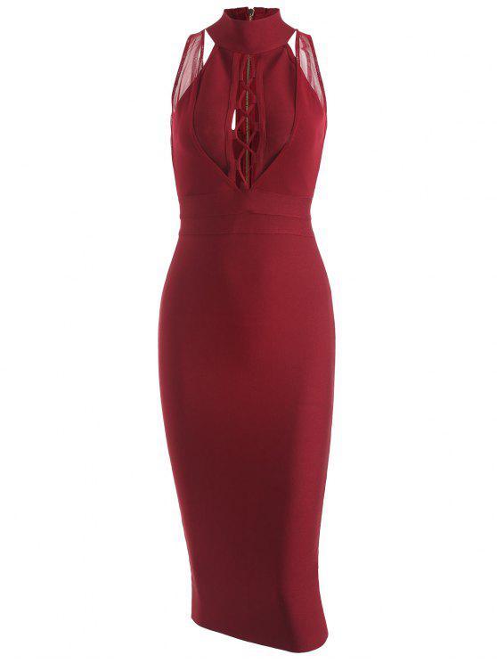latest Mesh Panel Criss Cross Bandage Dress - WINE RED M