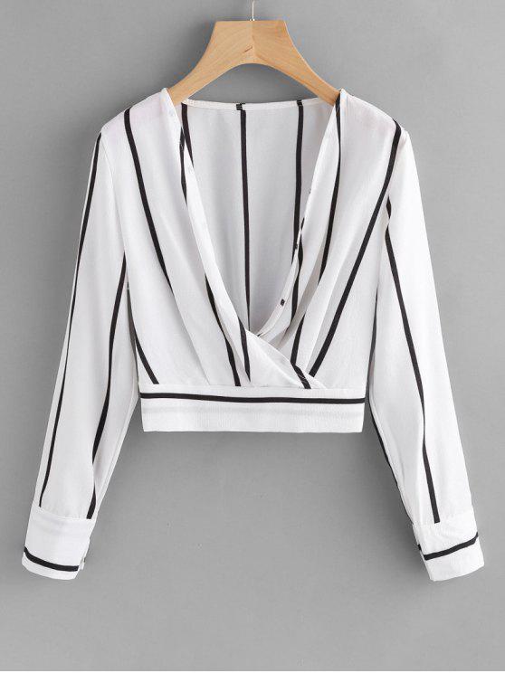 women Crossed Front Stripes Blouse - WHITE S