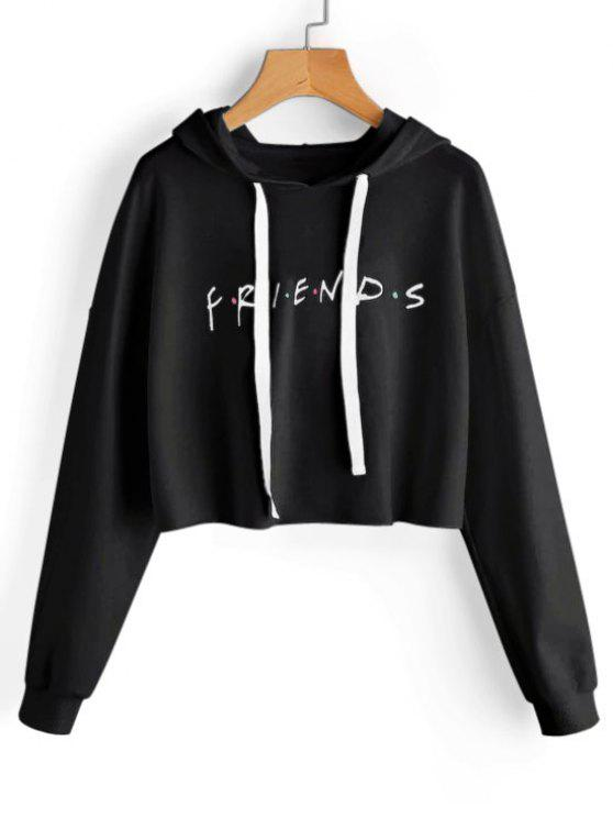 latest Drawstring Loose Letter Cropped Hoodie - BLACK M