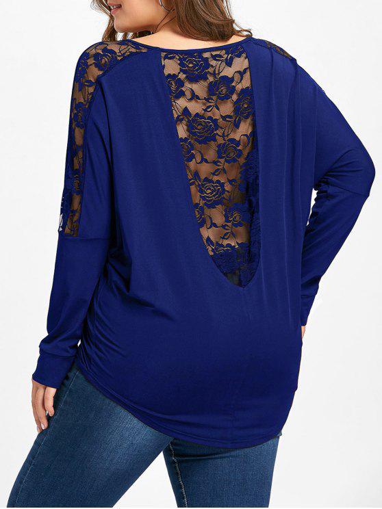 fb9df8ae554 Plus Size Lace Insert Sheer T-shirt - Royal 2xl