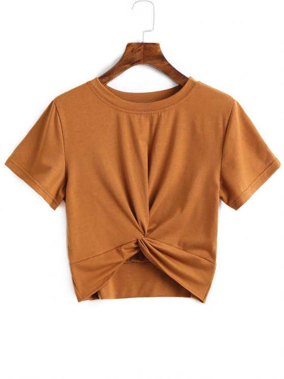 latest Cotton Twist Cropped Top - BROWN XL