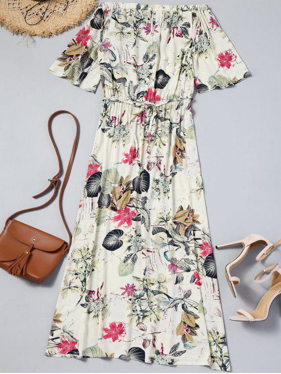 affordable Floral Cut Out Off Shoulder Maxi Dress - OFF-WHITE M