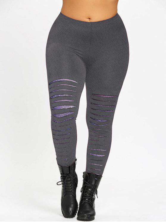 women's Plus Size Galaxy Ripped Leggings - DEEP GRAY 3XL