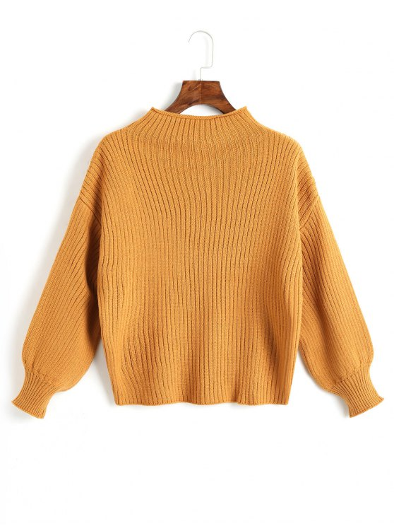 hot Plain Mock Neck Lantern Sleeve Sweater - GINGER ONE SIZE