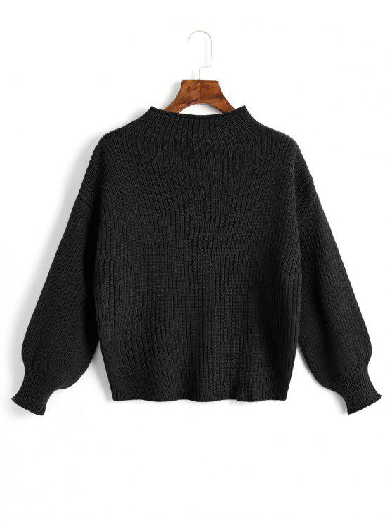 online Plain Mock Neck Lantern Sleeve Sweater - BLACK ONE SIZE