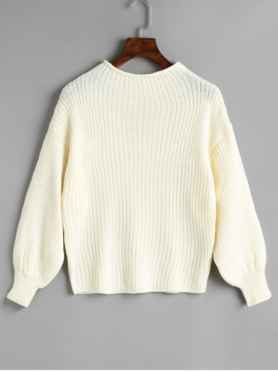 b651d11230479 49% OFF  2019 Plain Mock Neck Lantern Sleeve Sweater In WHITE