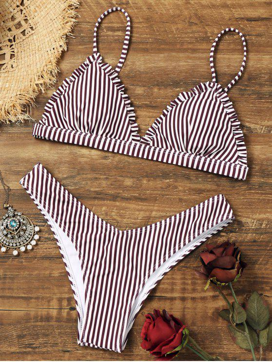 trendy Frilled Striped Thong Bikini Set - STRIPE S