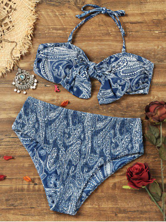 hot Paisley Knotted Bikini Bra with Smocked Briefs - COLORMIX M