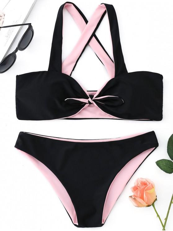 Vorder Knoten Bandeau Bikini Set - Schwarz L