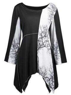 Camiseta Con Pañuelo En El Panel Con Estampado De árboles En Tallas Grandes - Blanco Y Negro 4xl