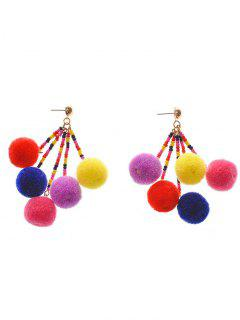 Bohemia Fuzzy Ball Drop Earrings