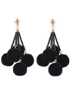 Bohemia Fuzzy Ball Drop Earrings - Black