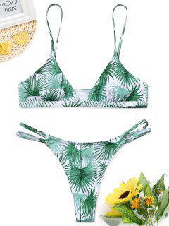 Ausgeschnittenes Blatt-Druck-Tanga-Bikini-Set - Grün S