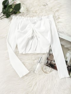 Gathered Off Shoulder Cropped Top - White M
