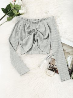 Gathered Off Shoulder Cropped Top - Gray S