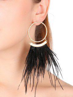 Statement Alloy Tassel Circle Earrings - Black