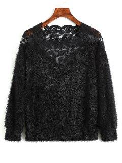 Lace Panel Textured Sweatshirt - Black