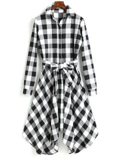 Long Sleeve Plaid Belted Shirt Dress - Black S