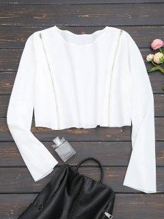 Cropped Zippered Front Sweatshirt - White M