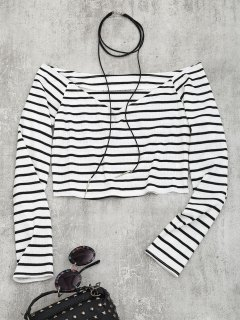 Cropped Striped Off Shoulder Top - Stripe M