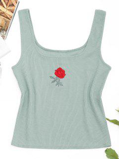 Ribbed Rose Embroidered Tank Top - Light Green M