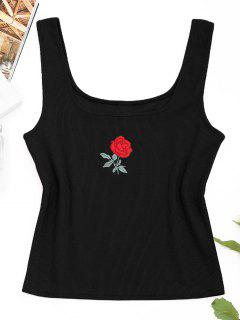 Ribbed Rose Embroidered Tank Top - Black S
