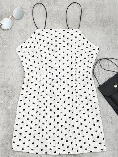 Polka Dot Mini Cami Kleid - Weiß M