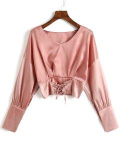 V-Ausschnitt Lace Up Satin Bluse - Rosa