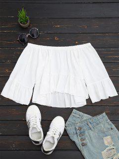Aus Der Schulter Rüschen Crop Bluse - Weiß L