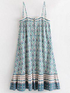 Half Buttoned Tribal Shift Dress - White M