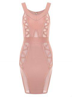 Off Shoulder Mesh Panel Bandage Dress - Pink L